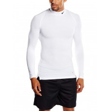 Nike Men's Pro Cool Compression Long-Sleeved Shirt With Stand-Up Collar,Бял,XXL